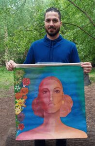 Ehsan with one of his pieces